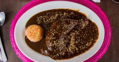 Mole Poblano auf Teller über Hühnchenkeule und etwas Reis
