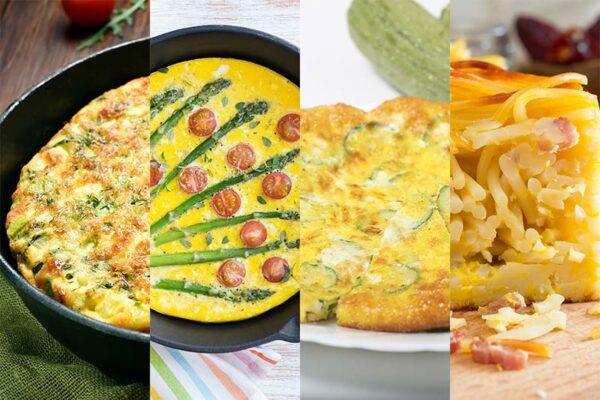 Ausschnitt von vier Frittata-Varianten: klassisch, mit Spargel und Tomaten, mit Zucchini und als Pasta-Frittata mit Spaghetti.